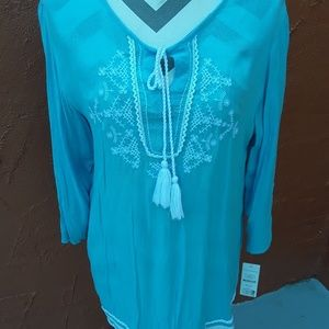 Hannah Embroidered Crinkle Maui Blue Top